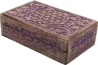 Hand Carved Flower Of Life Jewelry Trinket Keepsake Wooden Storage Box (Purple, Large)