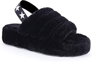 Fluffy Womens House Slippers Open Toe, Memory Foam Bedroom Slippers for Women Slip On, Black Purple Pink Non-Slip Womens Slippers Indoor Outdoor