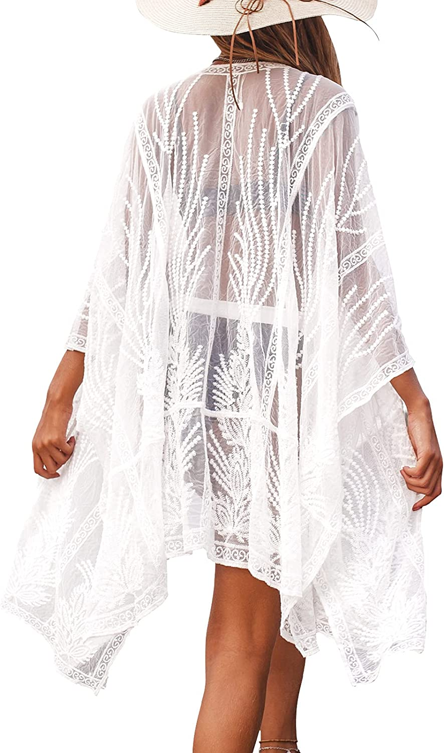 CUPSHE Women's White Sheer Embroidery Kimono Long Sleeves Cover Up