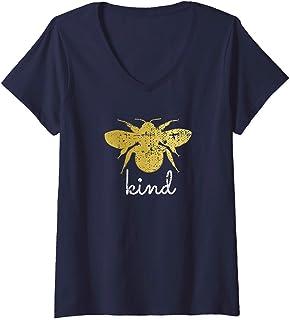 Femme Vintage Be Kind - Bumblebee Bee Kind Kindness Gift T-Shirt avec Col en V