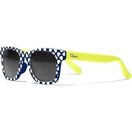 Chicco - Gafas de Sol Infantiles Para Niños De 2 años, Con Montura flexible y Lentes Anti Arañazos, Color Azul y Amarillo Corazones