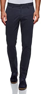 oodji Ultra Men's Cotton Trousers in Textured Fabric