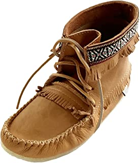 Laurentian Chief Men's Fringe and Braid Apache Moccasin Boots Cork Brown