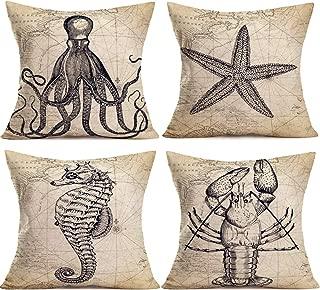 YANGYULU Map Marine Life Pillow Covers Ocean Beach Outdoor Cotton Linen Home Decorative Throw Pillow Case Cushion Cover 18