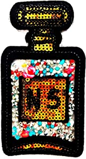 Perfume No.5 Bottle with Diamond Jewelry Gorgeous Girl 2.25X4.25 in MEGADEE Patch Cartoon Kids Symbol DIY Iron on Patch Iron-On Designer Patch Used for Gifts Crafts Jeans Clothing Fabric