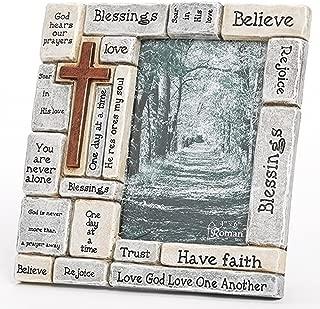 Faith-Filled Sentiments Crossword 8 x 8.25 Resin Stone Vertical Photo Frame