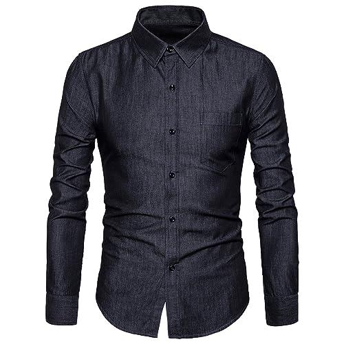 2f363e5d52f SIR7 Men s Casual Long Sleeve Lightweight Denim Shirt 100% Cotton Button  Down Dress Shirts