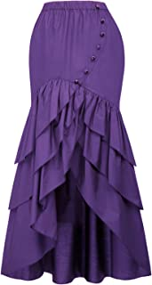 Belle Poque Vintage Steampunk Gothic Victorian Ruffled High-Low Skirt BP000406