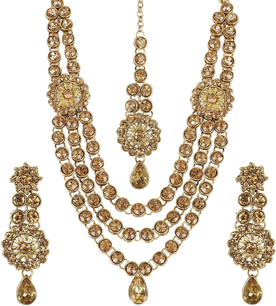 MUCH-MORE Crystal Elements CZ Stone Floral Shape Indian Bollywood Traditional Necklace Set for Women
