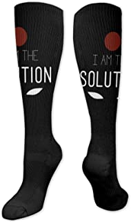 Lsjuee, soy la solución adultos niños 3d impreso cálido vestido atlético transpirable calcetines altos hasta la rodilla medias antideslizantes de la tripulación