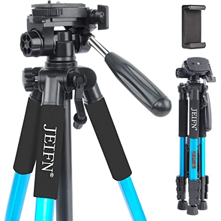 """58"""" Lightweight Compact Travel Portable Camera Tripod with Phone Clip for Canon Nikon Sony DSLR Camera Video with Carrying Bag(Blue)"""