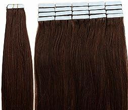 "12""-24"" Full Head Tape in Remy Human Hair Extensions Grade 7A 40pcs/Set 100g Top Virgin Hair Extensions Set Skin Weft, 20""-100g, 02#Dark Brown"
