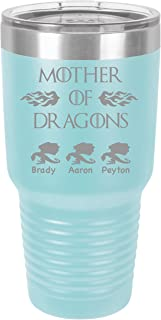 Personalized Mother Of Dragons -30 ounce Double wall vacuum insulated tumbler - Tons of colors by Griffco Supply (Light Blue)