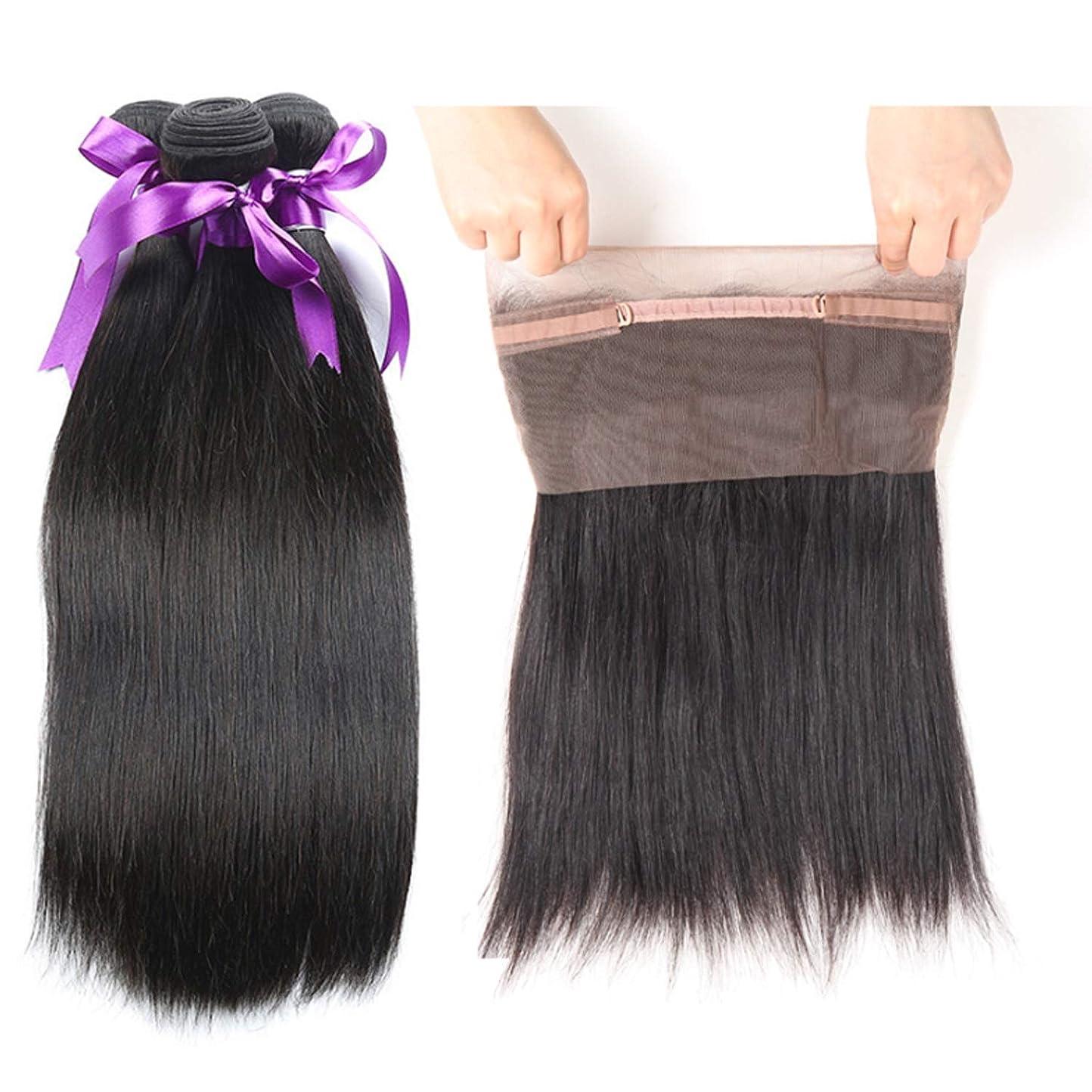 損なう気分が良い集めるペルーのストレートボディーヘア360束前頭閉鎖3束人間の髪の毛の束閉鎖Non-Remy かつら (Length : 12 14 14 Closure10)