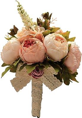 Flonding Ramo de Boda Novia Rosas Artificiales Peonía Lirio Broche Ramo Romántico Dama de Honor sosteniendo Flores para San Valentín Día Fiesta Iglesia, D4004