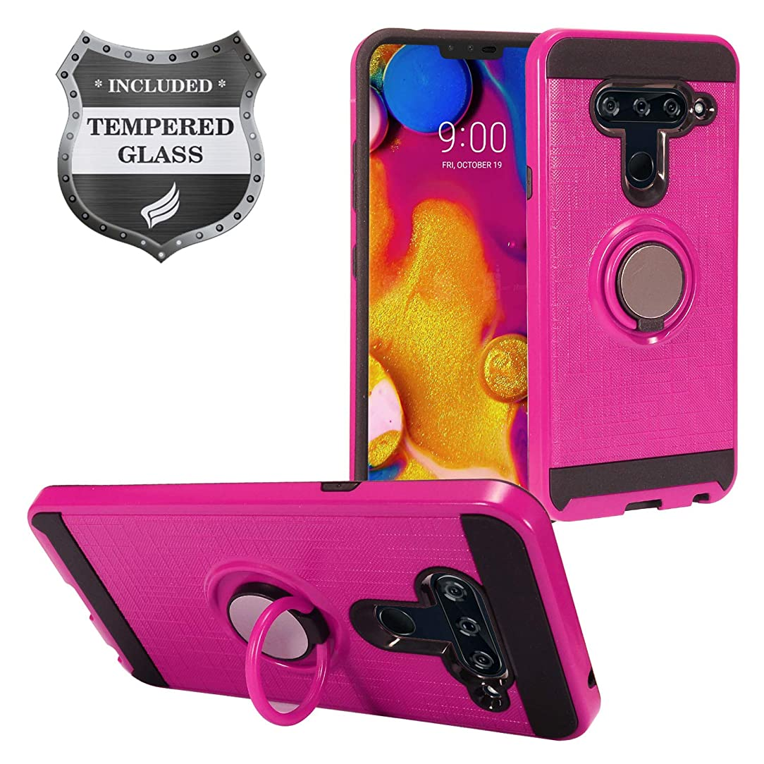 Eaglecell - LG V40 ThinQ - Hybrid Hard Case w/Ring Stand + Tempered Glass Screen Protector - RS2 HotPink