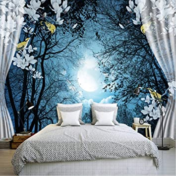 Xbwy 3d Wall Mural Wall Paper Natural Scenery Peaceful Night Forest Moon Custom 3d Room Landscape Photo Wallpaper Window View Bedroom 200x140cm Amazon Com