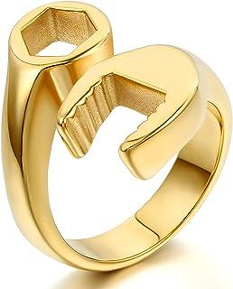 JewelryWe Gioielli Anello da Uomo Donna in Acciaio Inox alta lucidato Chiave Meccanico disegno Colore Oro