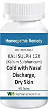 Kali SULPH 12X - 925 Tablets. Tissue Salts, Cold with Yellow Mucus Discharge, Bronchitis, Sinusitis, Dry Skin: Eczema, Psoriasis, Dandruff Relief.