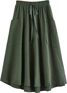 Women's Casual High Waist Pleated A-Line Midi Skirt with...