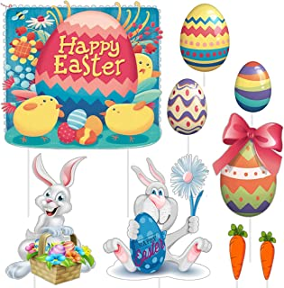 Easter Decorations Yard Signs Outdoor Lawn Decorations Plastic Easter Bunny Easter Eggs And Carrot Party Yard Signs with Stakes Multicolored Corrugated Signs for Easter Hunt Game, Easter Props - 9 Pcs