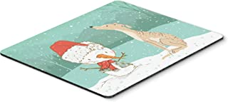 Brindle Greyhound Snowman Christmas Mouse Pad, Hot Pad or Trivet
