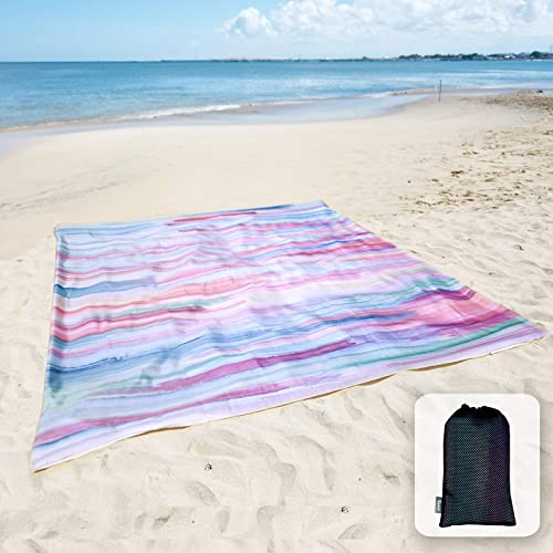 Sunlit Silky Soft Sandfree Beach Blanket Sand Proof Mat with Corner Pockets and Mesh Bag 6' x 7' for Beach Party, Tra...