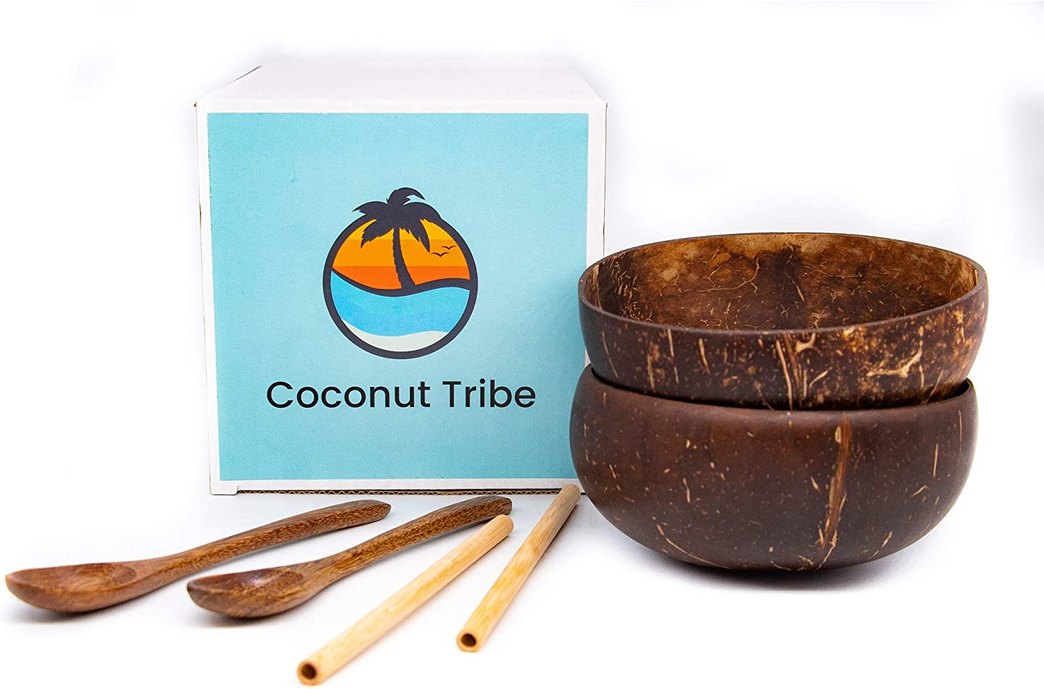 Coconut Finally resale start Bowls Set Free shipping New with 2 and Straws Spoons