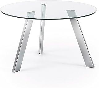 LF - Table de salle à manger Columbia diamètre 130 cm chrome et verre trempé