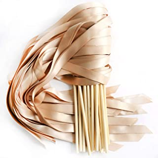 LaRibbons 20pcs Single Color Ribbons Wand Sticks Wedding Party Favor