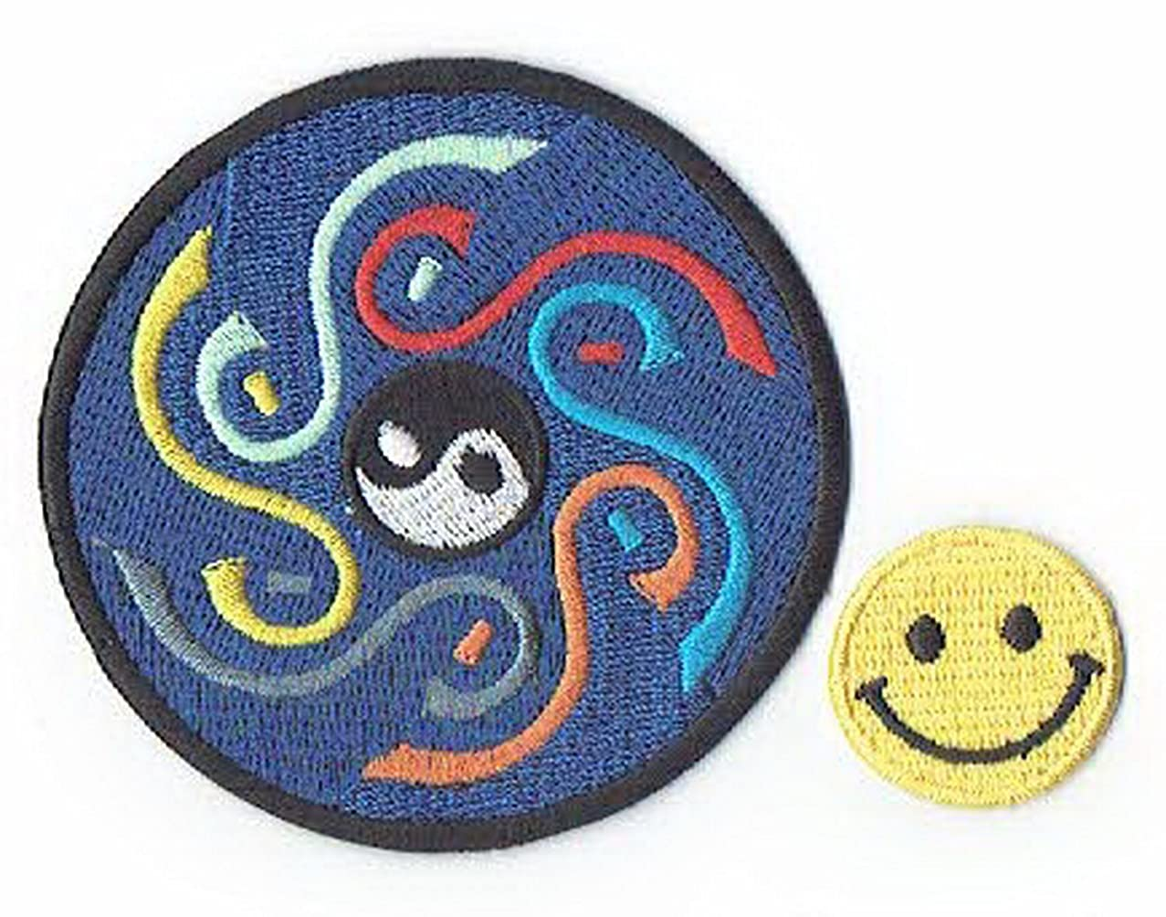 Patch Cube Ying YANG OHM Sign Applique Embroidered Iron on Patches (Wappen, ワッペン, ??) with Yellow Tiny Smiley Patches