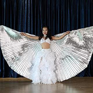 CapsA Belly Dance 360 Degree Wings with Portable Flexible Sticks for Children Belly Dance Costume Angel Wings Carnival, Stage, Halloween Christmas Party