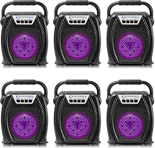 $89 » Sponsored Ad - (Qty 6) Technical Pro Portable Rechargeable LED Bluetooth Speaker with USB, SD Card, FM Radio, 4-inch Woofe...