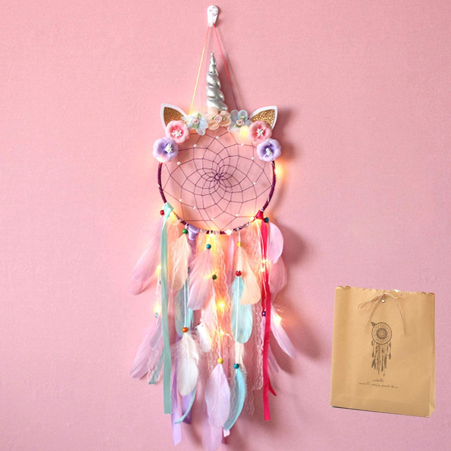 Unicorn Twinkle Dream Catchers for Kids Feather Handmade Flowers Wall Hanging for Girls Nursery Bedroom Decoration Blessing Gift with LED Strings