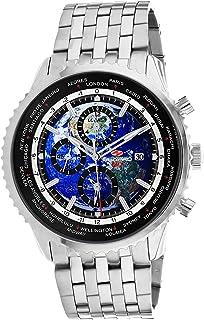 Seapro Men's Meridian World Timer GMT Quartz Stainless Steel Strap, Silver, 22 Casual Watch (Model: SP7320)