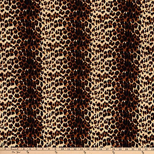 Tela Liverpool de tela de doble punto, guepardo, color café chocolate por el patio