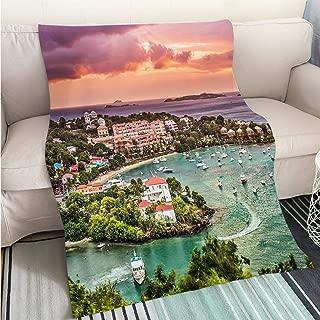BEICICI Super Soft Flannel Thicken Blanket Cruz Bay St John Fun Design All-Season Blanket Bed or Couch