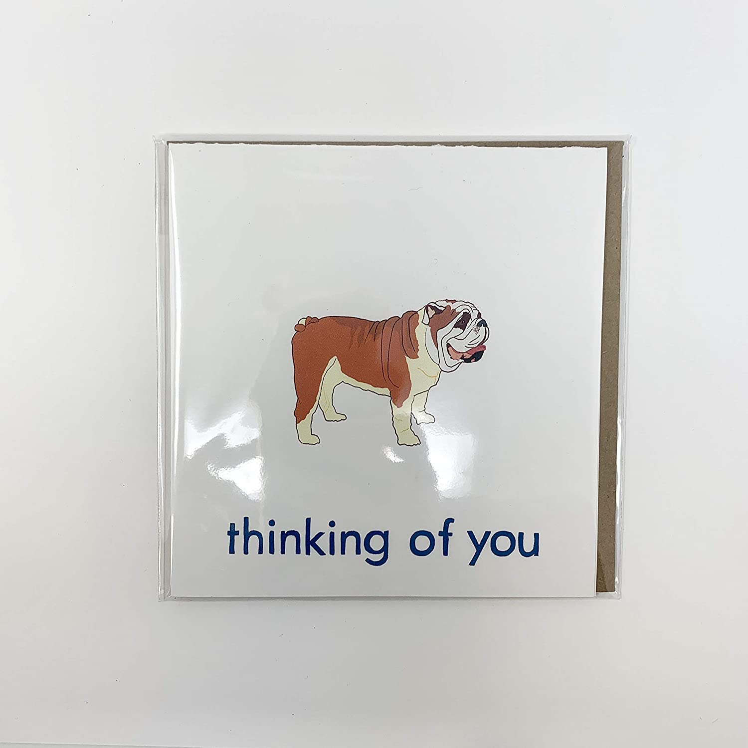 English Bulldog Thinking of You Card New mail order Greeting Courier shipping free