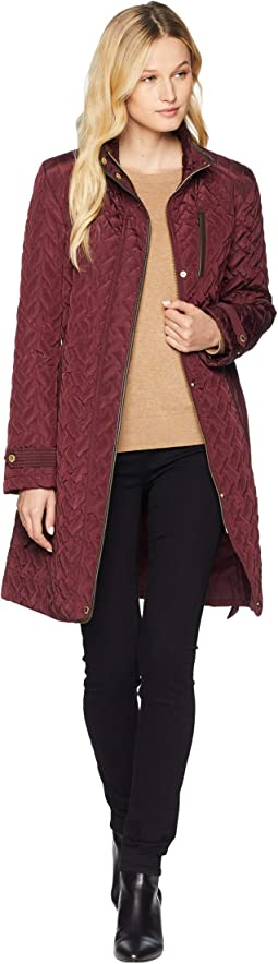 Belted Signature Quilt Zip Front Coat with Trapunto Stitching Details