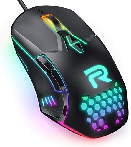 RUNMUS Gaming Mouse with 7 Programmable Buttons, Chroma RGB Backlight & 6400 Adjustable DPI, Ergonomic USB Computer M...