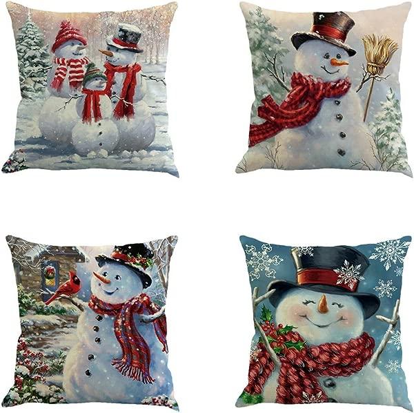 XIECCX Throw Pillow Cover 18 X 18 Inches Set Of 4 Christmas Series Cushion Cover Case Pillow Custom Zippered Square Pillowcase Christmas Snowman