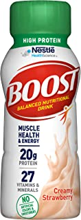 BOOST High Protein Balanced Nutritional Drink, Creamy Strawberry, 8 Ounce Bottle (Pack of 24)