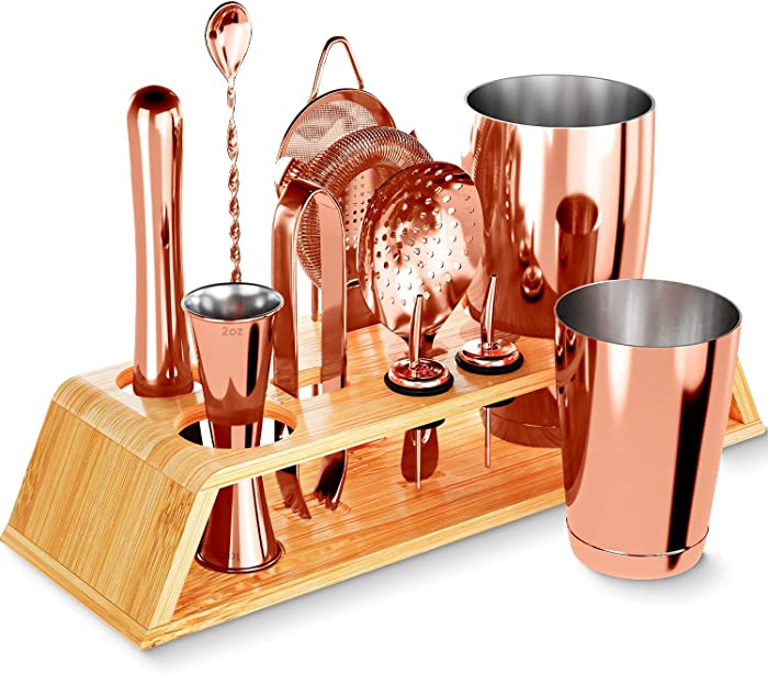 12-Piece Silver Cocktail Shaker Set with Bamboo Stand, Weighted 18 & 28oz Weighted Shakers and Bar Tools Set Using Premium Stainless Steel 304, The Perfect Bartending Mixing Kit for the Home or Bar