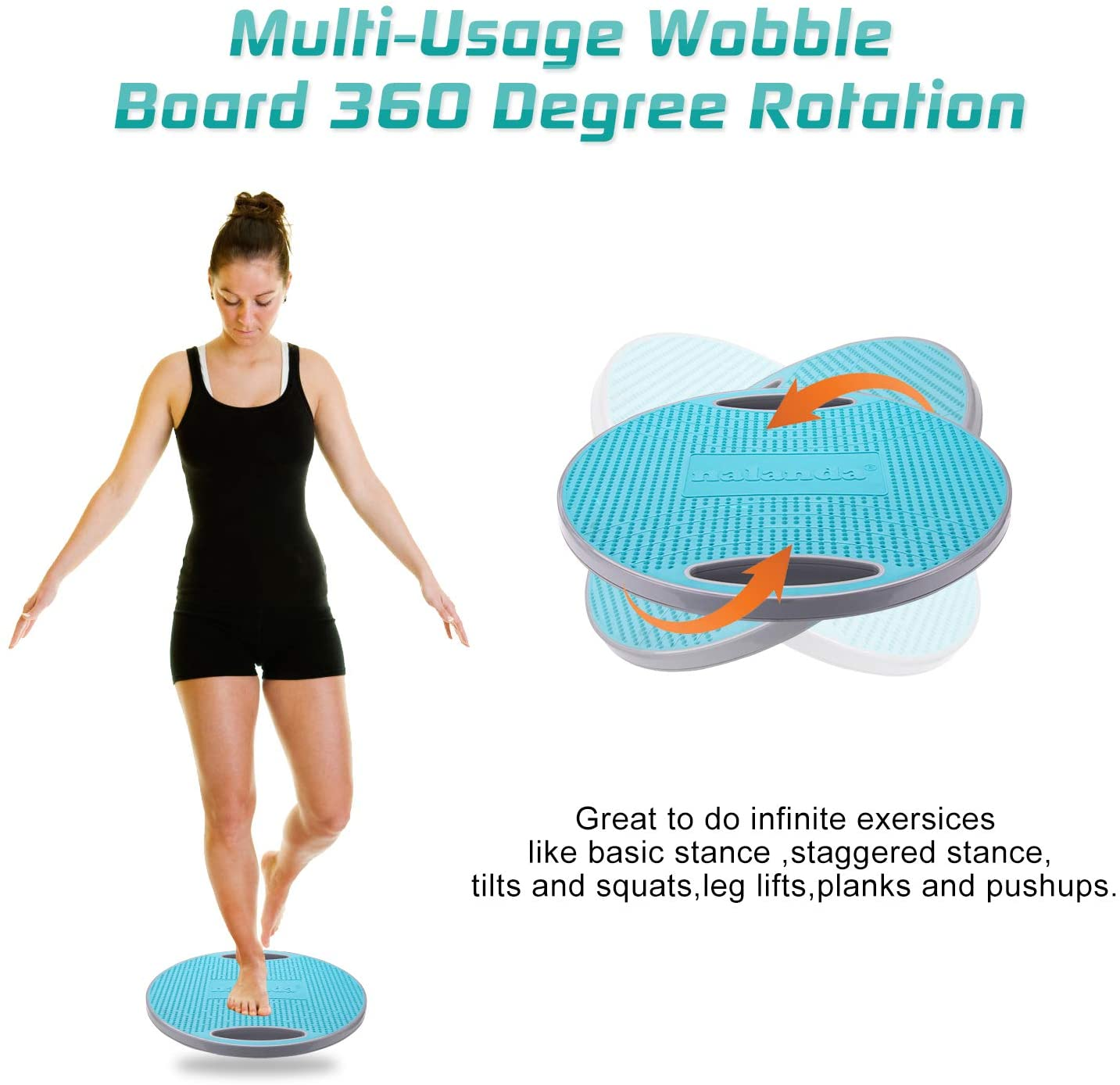 NALANDA Wobble Balance Board, Core Trainer for Balance Training and Exercising, Healthy Material Non-Skid TPE Bump Surface, Stability Board for Kids and Adults : Sports & Outdoors