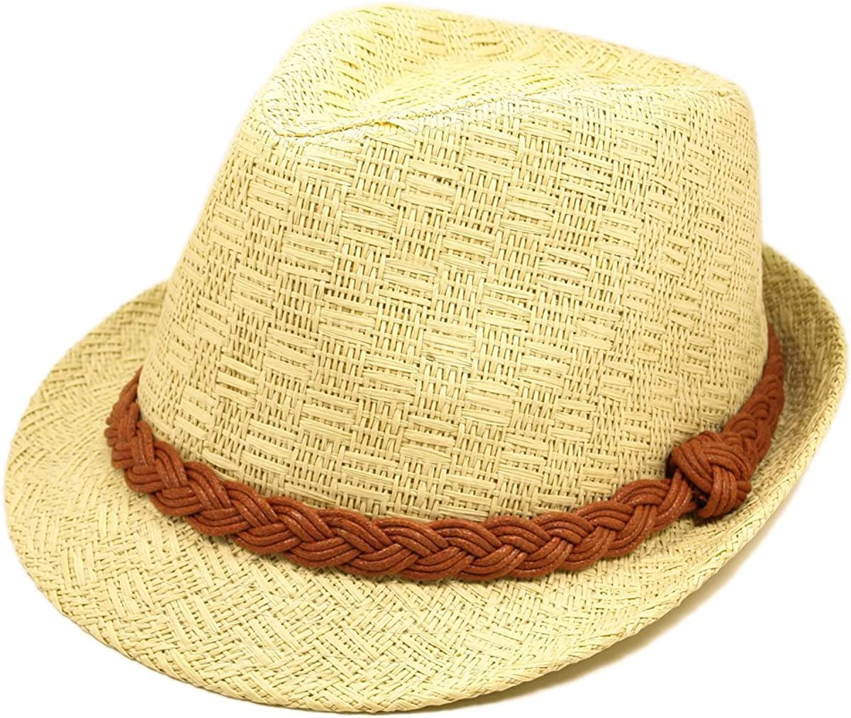 Classic Natural Fedora Straw Hat with Braided Band
