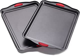 Home and Kitchen Bakeware - NonStick Cookie Sheet Set of 2 - Baking Sheet Set - Baking Tray - BPA-FREE - Easy Grip Silicone Handle for Maximum Safety - Designed for both Youngs and Adults