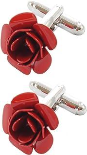 COLLAR AND CUFFS LONDON - Gemelli di Alta qualità e Scatola Regalo - Ottone - Rosa Rossa - Rosso Colorato - Fiore Giardino...
