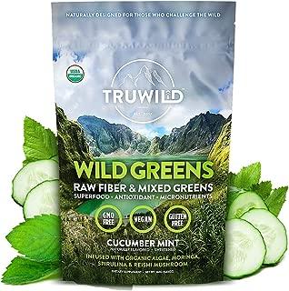 Wild Greens Certified Organic Green Superfood Adaptogen Powder - 22+ Amazing Organic Foods - Reishi, Ashwagandha, Maca, Moringa, Wheatgrass, Spirulina, Chlorella, Bitter Melon - Naturally Flavored