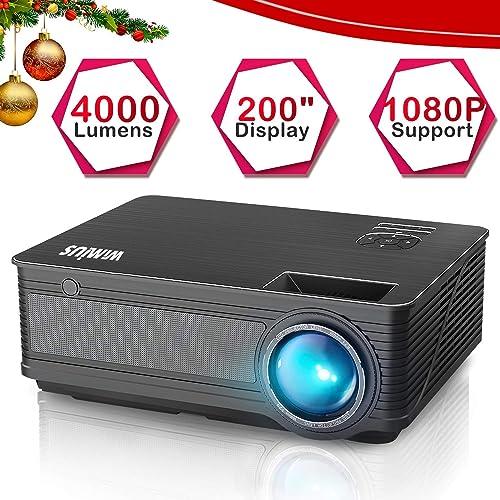 Vidéoprojecteur HD, WiMiUS Vidéo Projecteur Full HD 4000 Lumens Rétroprojecteur, Projecteur LED supporte 1080P, Multimédia Projecteur HD Home Cinéma Compatible iPhone, Android, TV Xbox, PS4, PC,etc