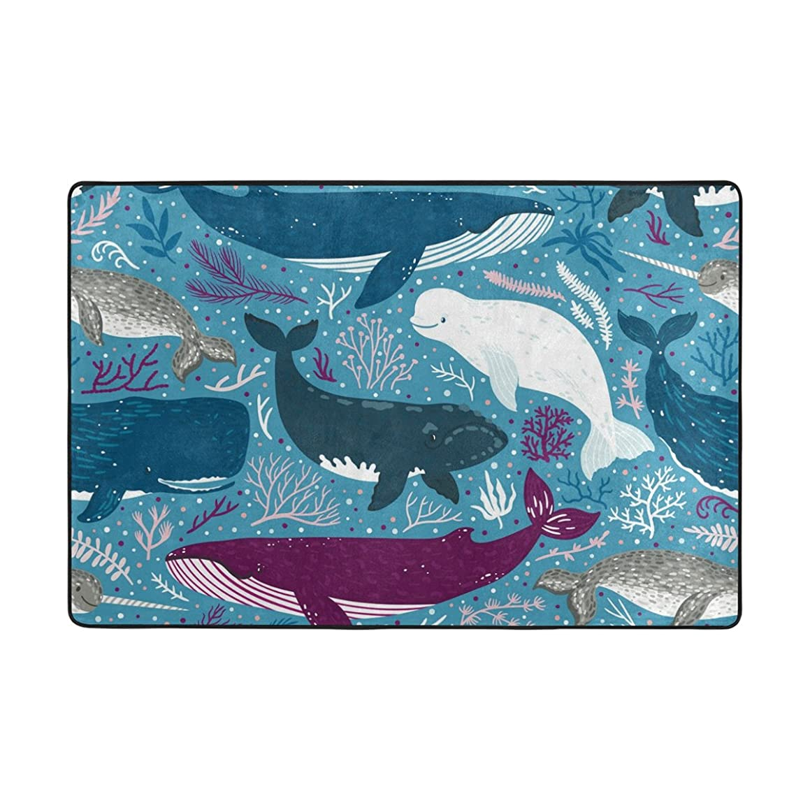ColourLife Whales Playing Lightweight Area Soft Rugs Floor Mat Decoration for Kids Room Living Room Bedroom Carpet Mats 72 x 48 inches